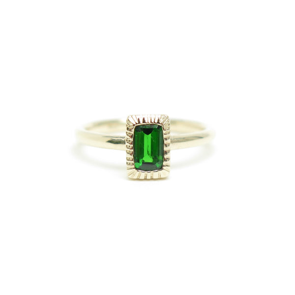 Bezel Set Emerald Cut Green Diopside Ring in Yellow Gold