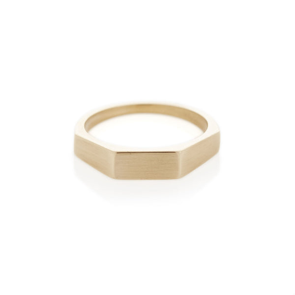 Yellow Gold Three Edge Signet Ring