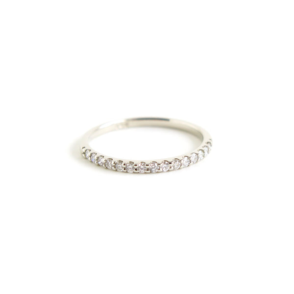 Dainty Shared Claw Half Eternity Band in White Gold