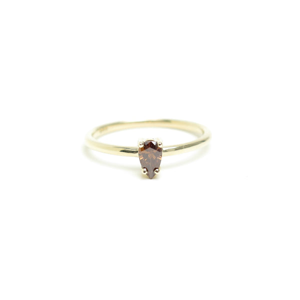 Four Claw Pear Shaped Brown Diamond Ring in Yellow Gold