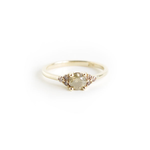 Brownish Yellow Diamond Trilogy Ring