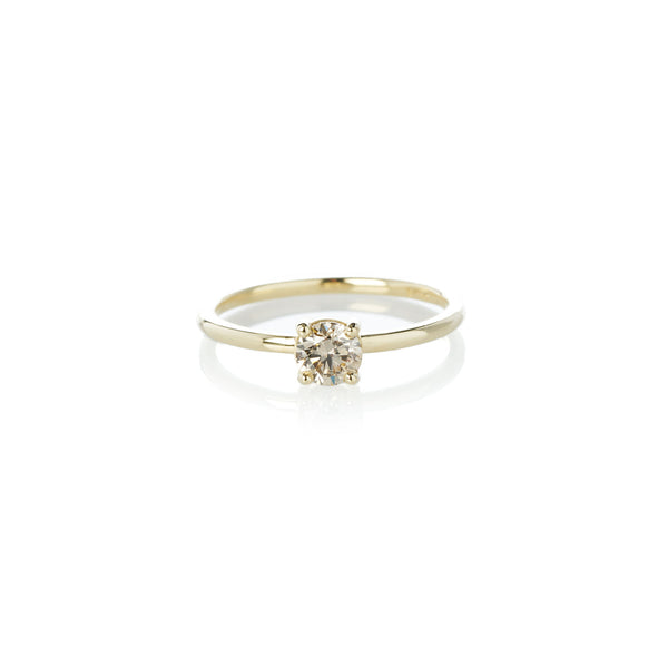 Four Claw Cognac Diamond Ring in Yellow Gold