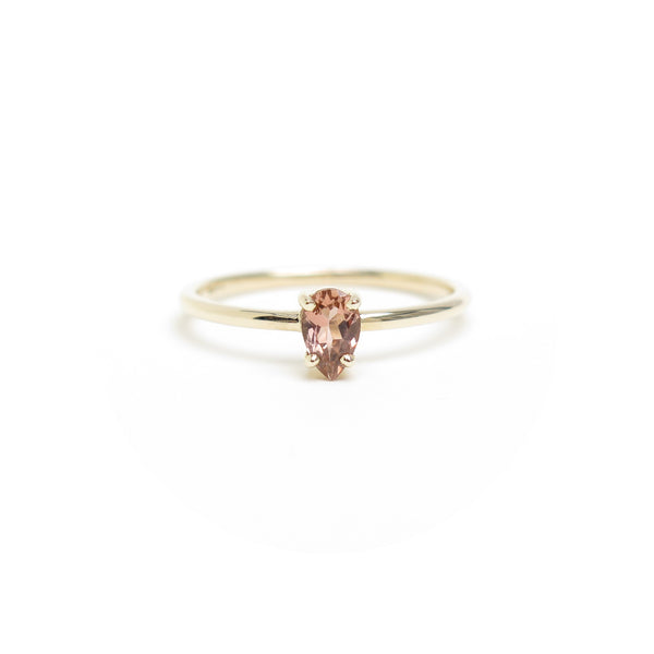 Four Claw Pear Shaped Pink Tourmaline Ring in Yellow Gold