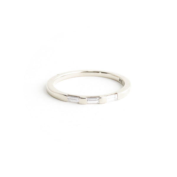 White Baguette Diamond Half Eternity Band in White Gold