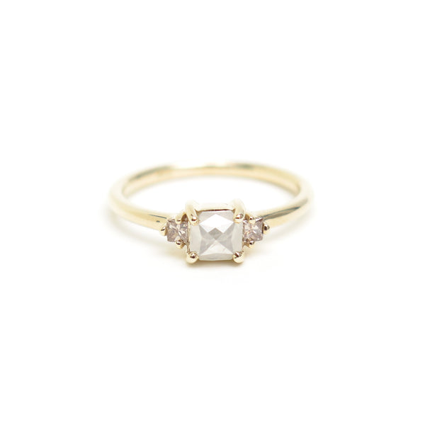 Grey Emerald Rose Cut Diamond Trilogy Ring in Yellow Gold