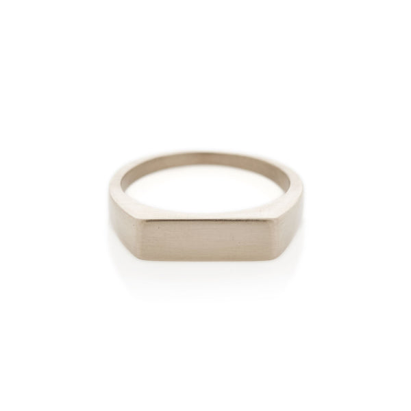 White Gold Rectangle Signet Ring