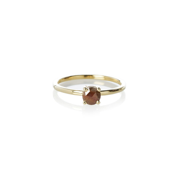 Four Claw Brown Rose Cut Diamond Ring in Yellow Gold