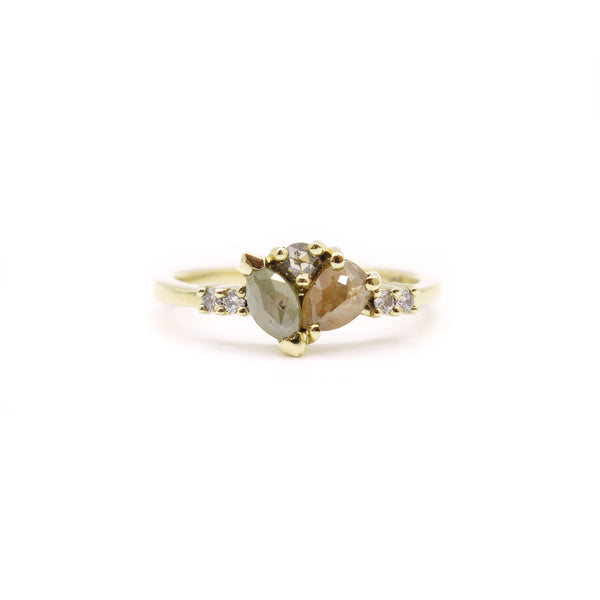 Mixed Diamond Cluster Ring in Yellow Gold