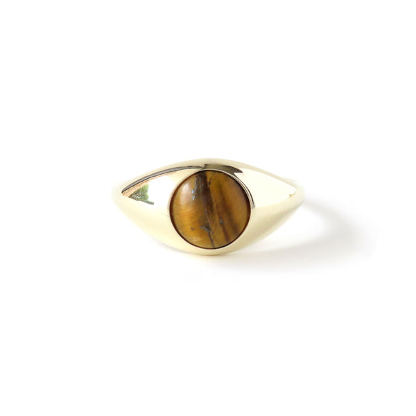 The Iris Ring in Yellow Gold with Tigers Eye
