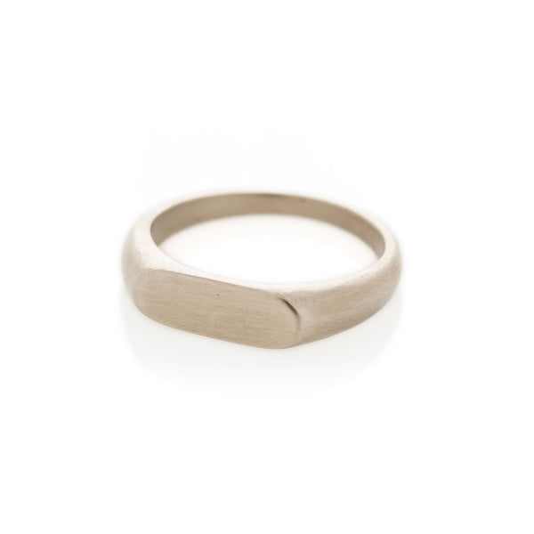 White Gold Landscape Signet Ring