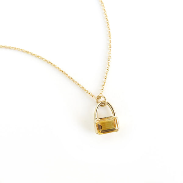 Emerald Cut Citrine Pendant