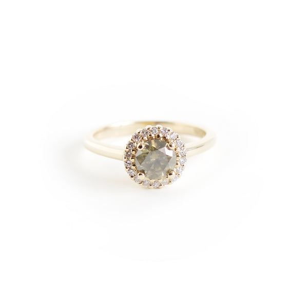 Greyish Yellow Diamond Halo Ring
