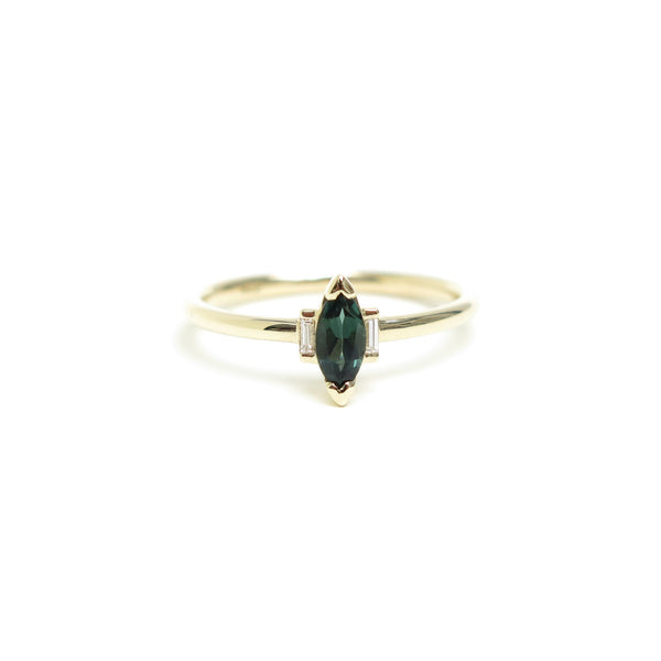 Vertically Set Green Marquise Tourmaline Trilogy Ring in Yellow Gold