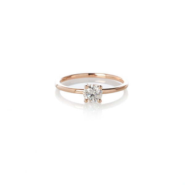 Four Claw White Diamond Ring in Rose Gold
