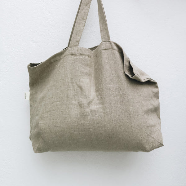 Linen Tote Bag in Natural Flax