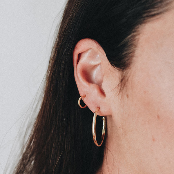 Large Hoop Earrings in Rose Gold
