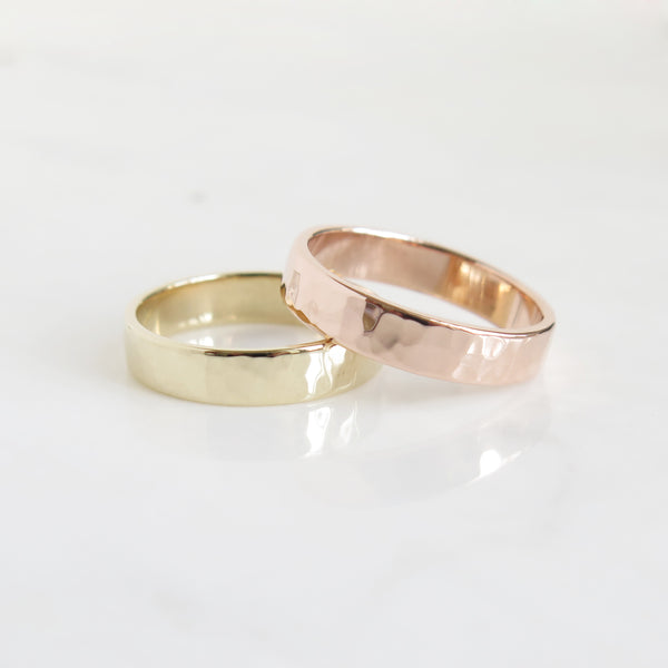 Men's Hammered Band in Rose Gold