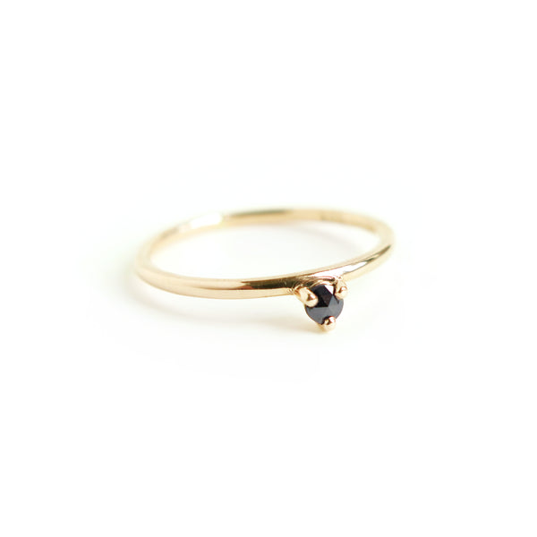 Three Claw Mini Black Diamond Ring in Yellow Gold