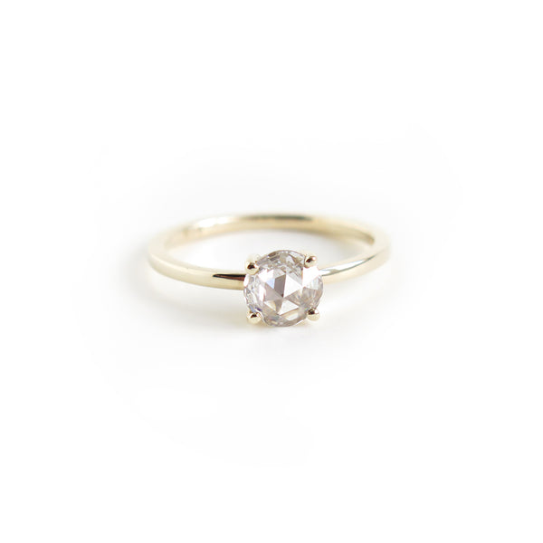White Rose Cut Diamond Ring