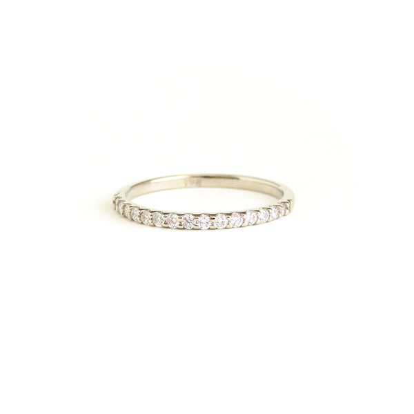 White Diamond Shared Claw Half Eternity Band in White Gold
