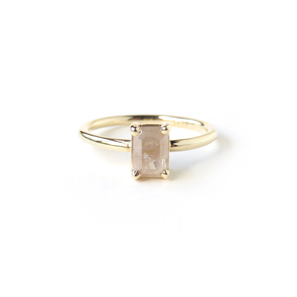 Orangey White Emerald Cut Diamond Ring