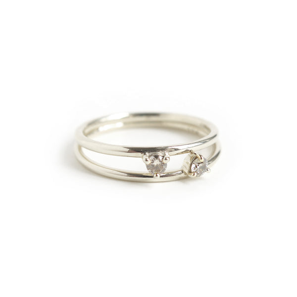 Duo of Three Claw Mini Diamond Rings in White Gold