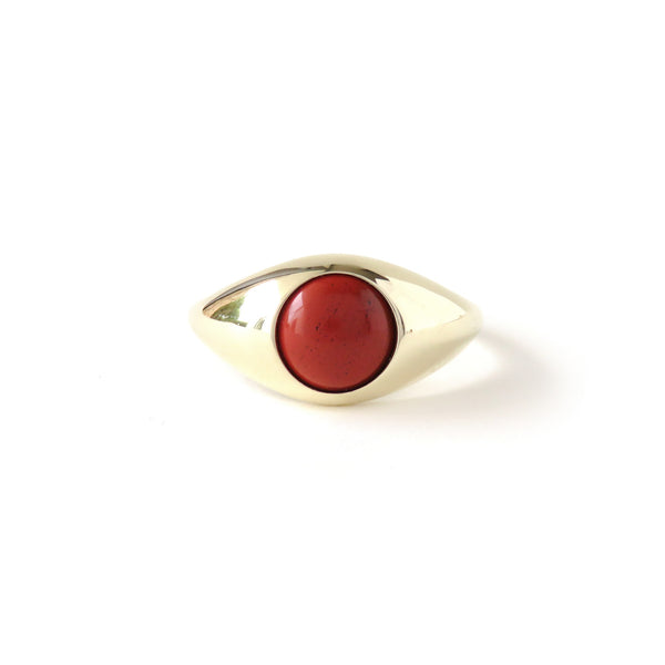 The Iris Ring in Yellow Gold with Jasper