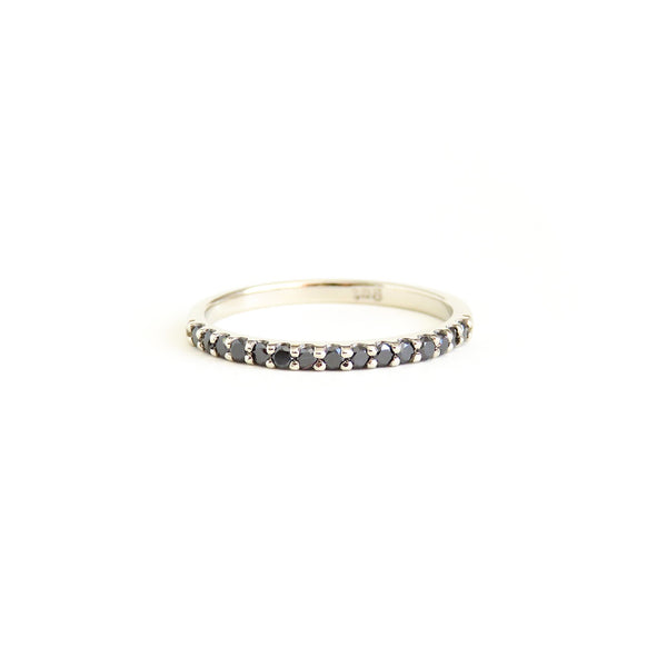 Black Diamond Shared Claw Half Eternity Band in White Gold