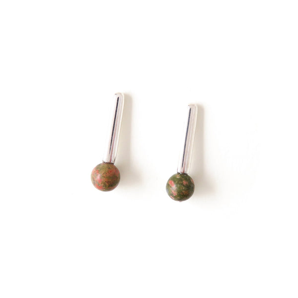 The Droplet Earrings in Silver with Unakite