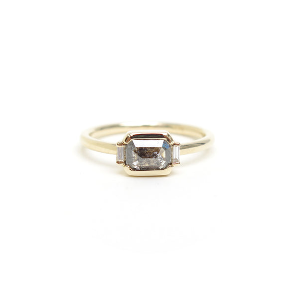 Black Grey Emerald Rose Cut Diamond Trilogy Ring in Yellow Gold