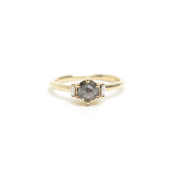 Grey Hexagon Diamond Trilogy Ring in Yellow Gold
