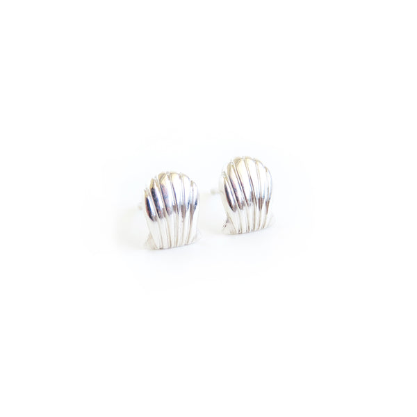 Shell Stud Earrings in Silver