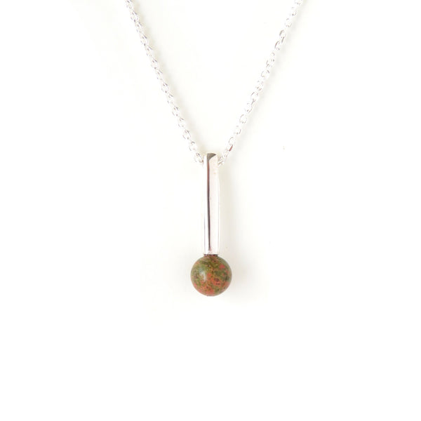 The Droplet Pendant in Silver with Unakite