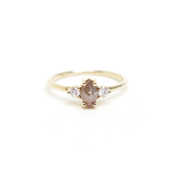 Pink Brown Marquise Diamond Trilogy Ring in Yellow Gold