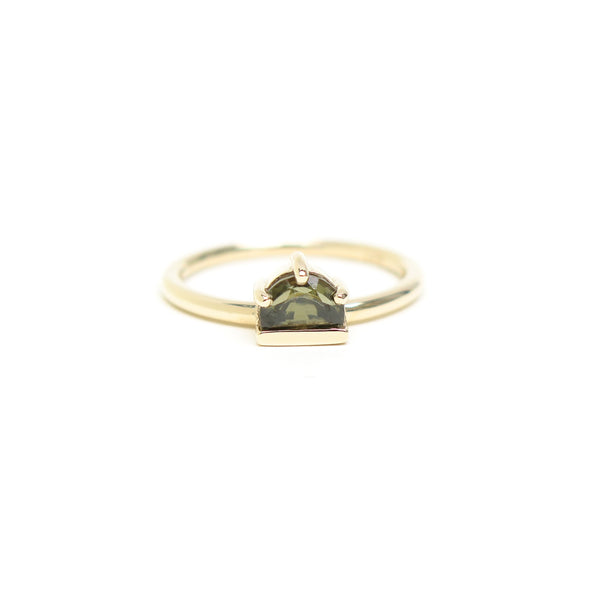 Green Halfmoon Spinel Ring in Yellow Gold