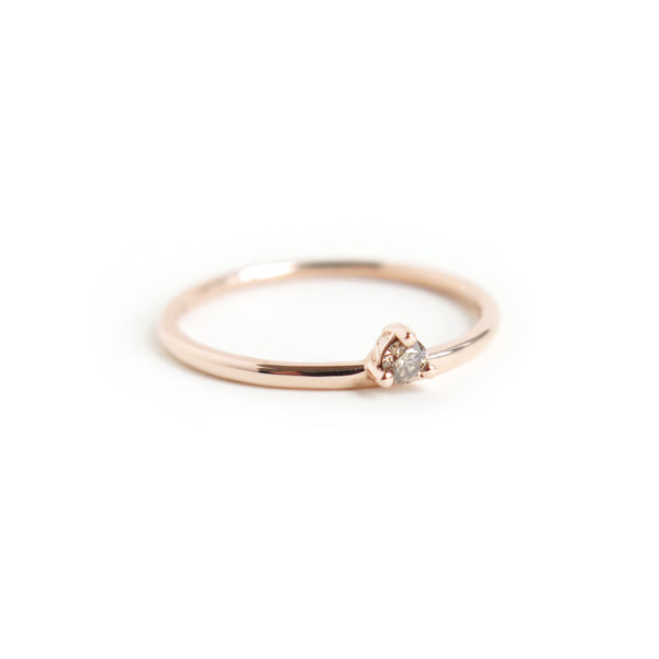 Three Claw Mini Cognac Diamond Ring in Rose Gold