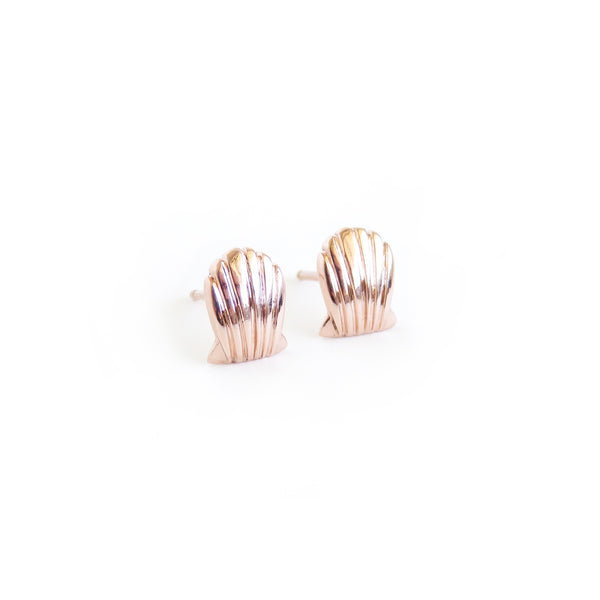 Shell Stud Earrings in Rose Gold