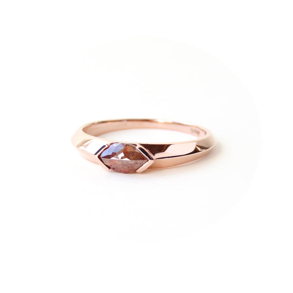 Peachy Red Marquise Diamond Signet Ring