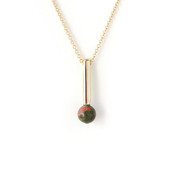 The Droplet Pendant in Yellow Gold with Unakite