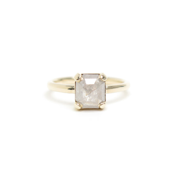 Four Claw Grey Emerald Rose Cut Diamond Ring in Yellow Gold