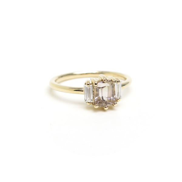 Pink Hexagon Tourmaline Trilogy Ring in Yellow Gold