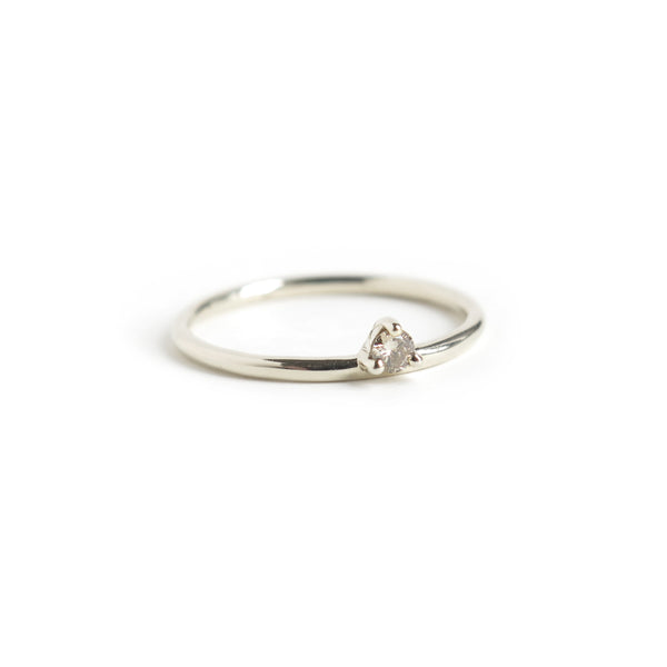 Three Claw Mini Cognac Diamond Ring in White Gold