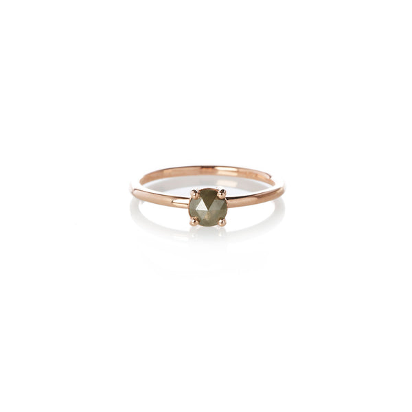 Four Claw Grey Rose Cut Diamond in Rose Gold