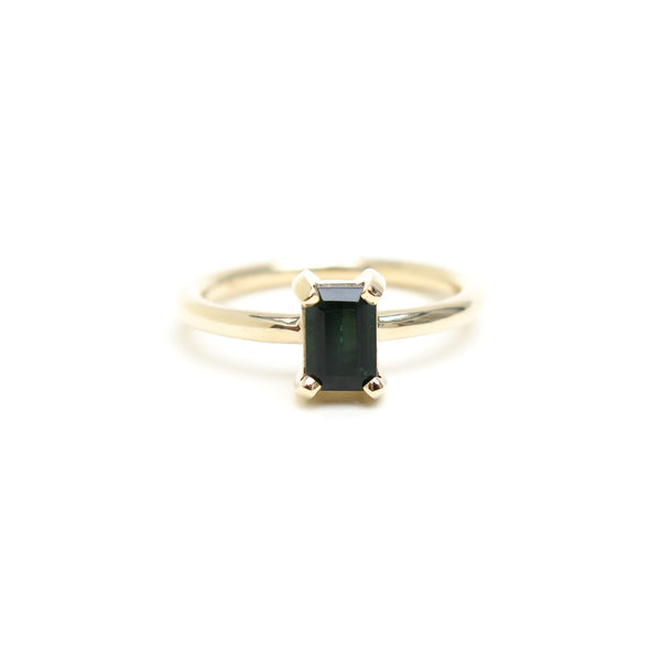 Four Claw Deep Green Emerald Cut Tourmaline Ring in Yellow Gold