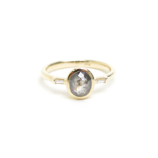 Grey Oval Rose Cut Diamond Trilogy Ring in Yellow Gold