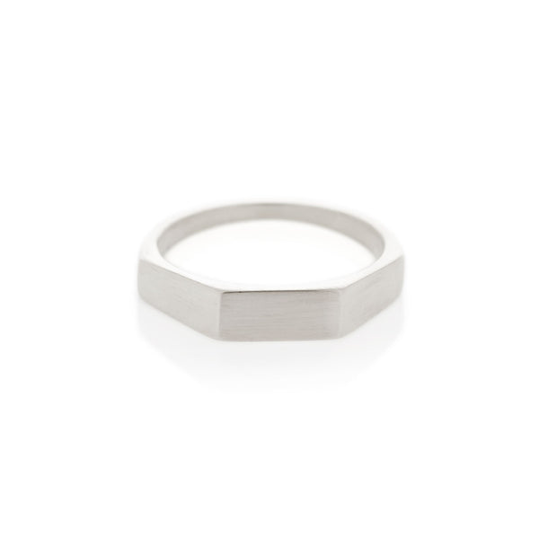 Silver Three Edge Signet Ring