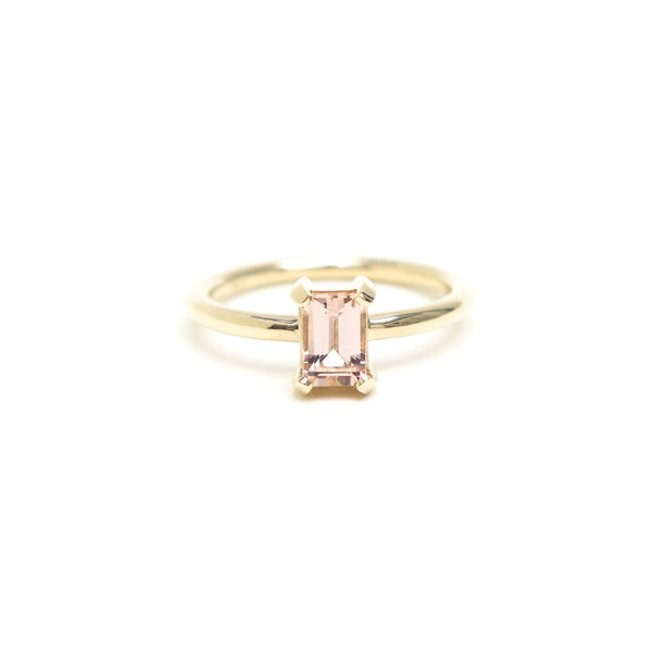 Four Claw Emerald Cut Morganite Ring in Yellow Gold