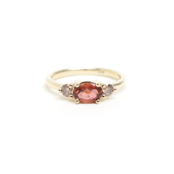 Pink Oval Tourmaline Trilogy Ring in Yellow Gold