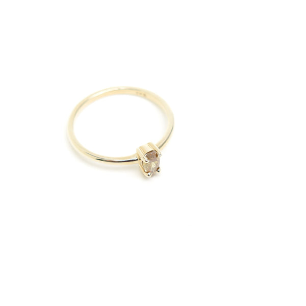 Four Claw Pear Shaped Yellow Diamond Ring in Yellow Gold