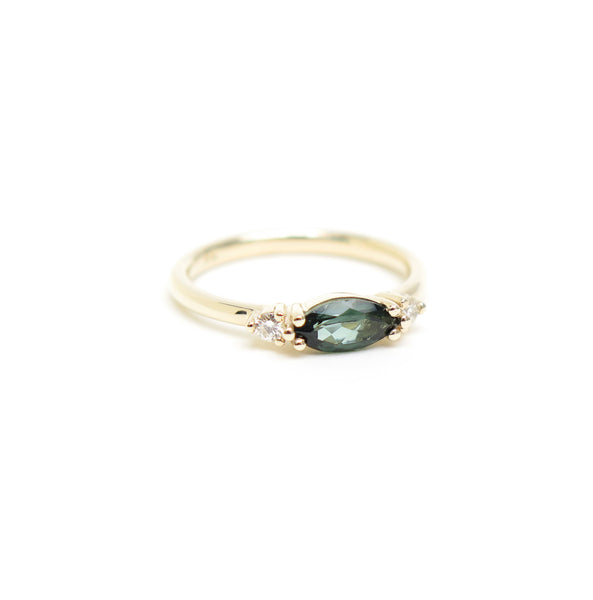 Horizontally Set Green Marquise Tourmaline Trilogy Ring in Yellow Gold